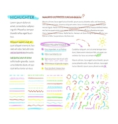 Highlighter elements collection vector