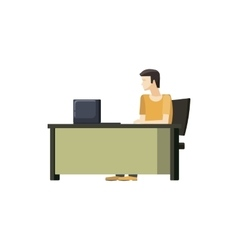 Man sitting at a computer desk icon cartoon style vector