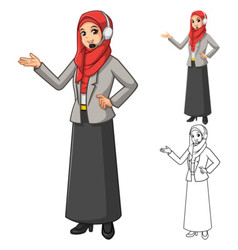 Muslim businesswoman operator wearing red veil vector