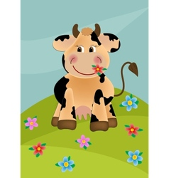 Cow grazing in the meadow vector image