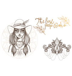 A woman in a broad-brimmed hat a set of outline vector