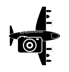 airplane and photographic camera icon vector image