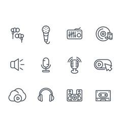 audio icons sound mixing microphones recording vector image