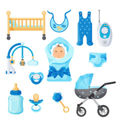 baby boy design elements collection on vector image vector image