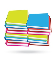Books stack isolated white background vector