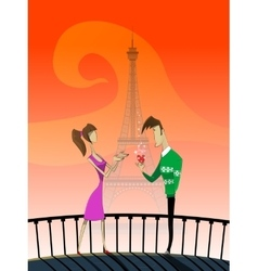 Cartoon couple with eiffel tower vector image