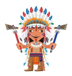 Cartoon fictional character - Indian with axe vector image vector image