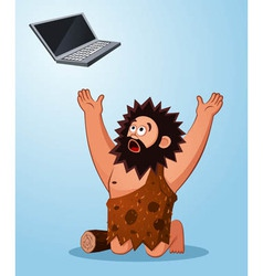 caveman worshiping a laptop vector image vector image