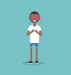 cute cartoon black boy with heart-shaped eyes vector image vector image