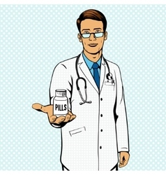 Doctor holding vial with pills pop art vector