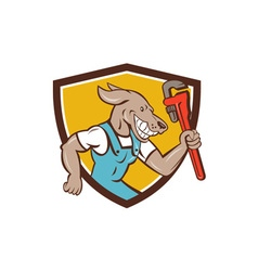 Dog plumber running monkey wrench shield cartoon vector