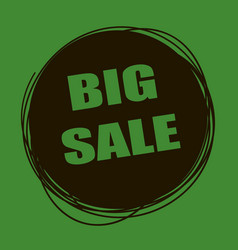 Doodle sale tag big sale banner black and green vector