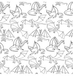 dragons doodle seamless pattern vector image
