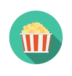 Flat design concept popcorn icon with long s vector