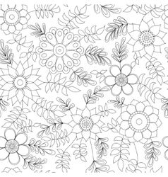 Floral pattern with leaves coloring vector