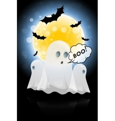 Halloween background with moon and ghosts vector