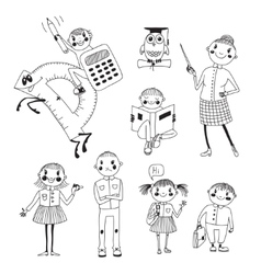 Hand drawn teacher and schoolchildren vector image vector image