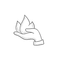 Hand holding fire sketch icon vector image