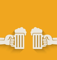 Hands with beer mugs vector