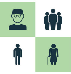 human icons set collection of scientist group vector image vector image