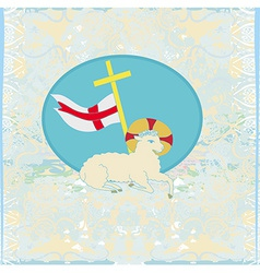 Lamb with Cross - Abstract grunge card vector image