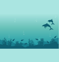 Landscape of dolphin and fish silhouettes vector
