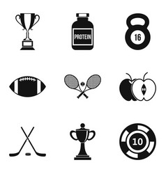 rugby icons set simple style vector image