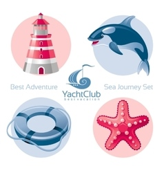 Sea travel icon set with seafaring icons vector