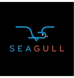 Seagull logo in one line outline flash style vector image