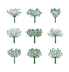 Set green trees with leafs vector