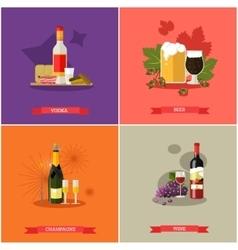 Set of alcoholic beverages flat design vector