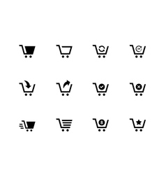 Shopping cart icons on white background vector image