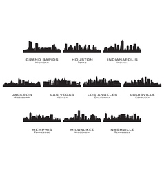Silhouettes of the USA cities 2 vector image vector image