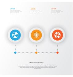 Summer icons set collection of balloon lifesaver vector