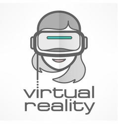 Virtual reality headset woman vector