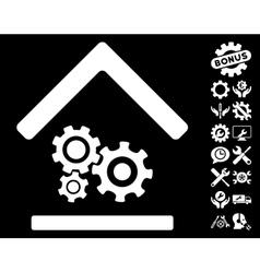 Workshop icon with tools bonus vector