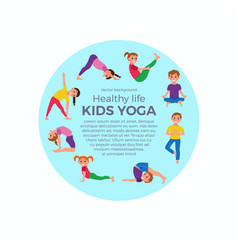 yoga kids poses set vector image vector image