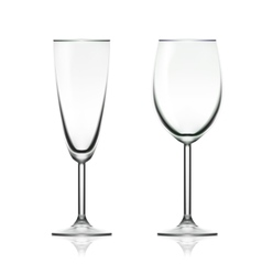 Transparent empty wine and champagne glass vector