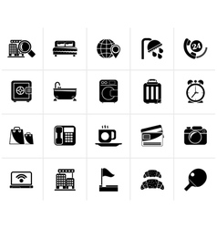 Black hotel and motel services icons 1 vector