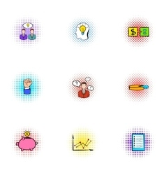 Company deal icons set pop-art style vector