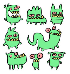 Funny green monsters vector