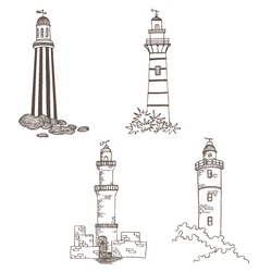 Set with lighthouses vector