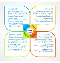 Sheet with swot analysis diagram wit space for own vector