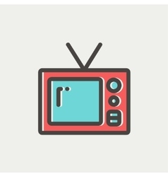 Vintage television thin line icon vector