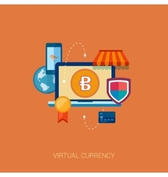 Virtual currency block chain flat icon concept vector