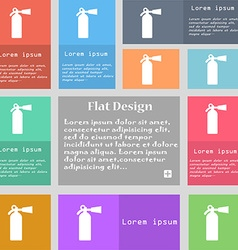 Extinguisher icon sign set of multicolored buttons vector