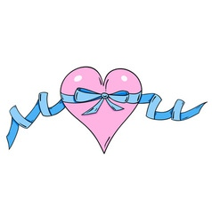 Rose heart with blue ribbon vector