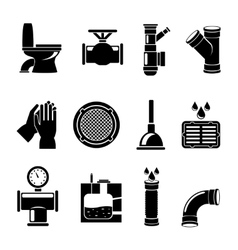 Sewerage icons set vector