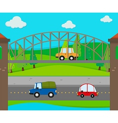 Cars riding on the road vector