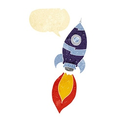Cartoon spaceship with speech bubble vector